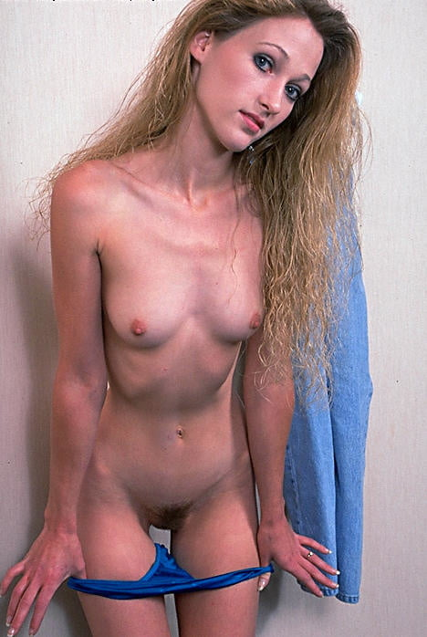 Cute skinny and hairy retro chick strips