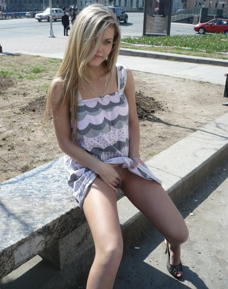 Hot blonde without panties in public