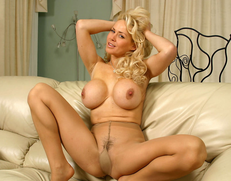 mature sexy blonde in nylon pantyhose